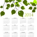 Green Spring 2014 Calendar Vector