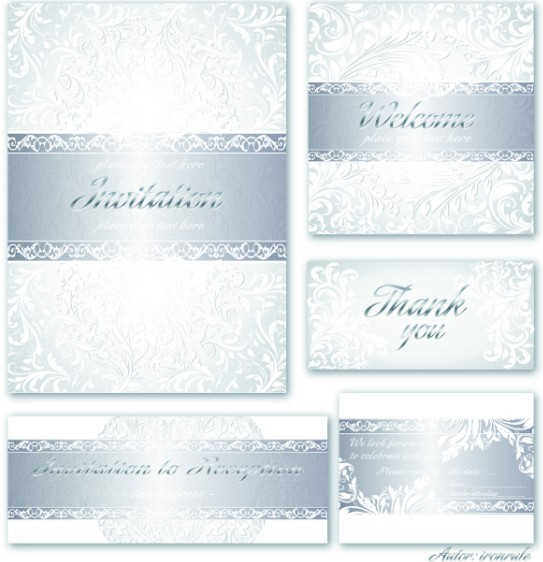 Backdrops Silver Wedding Invitations: Free Set Of Vector Silver Royal Invitation Card