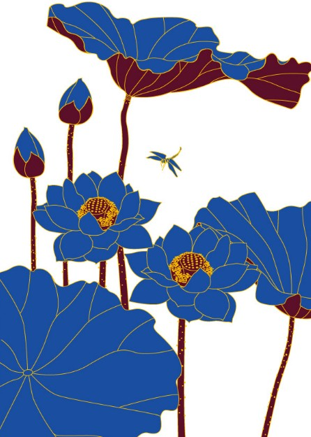 Lotus Flower Line Drawing Vector Free Download : Free blue lotus flowers vector line art titanui