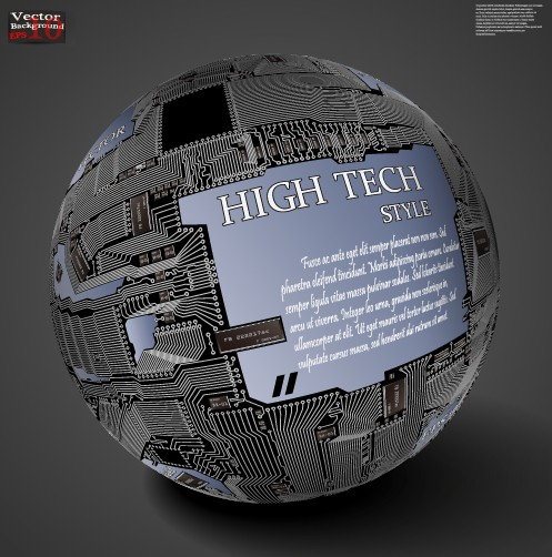 Free Hi Tech Style Globe Of Integrated Circuits Vector 01