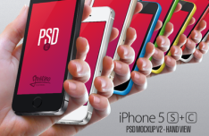 iPhone 5S & 5C In Hand Mockups PSD