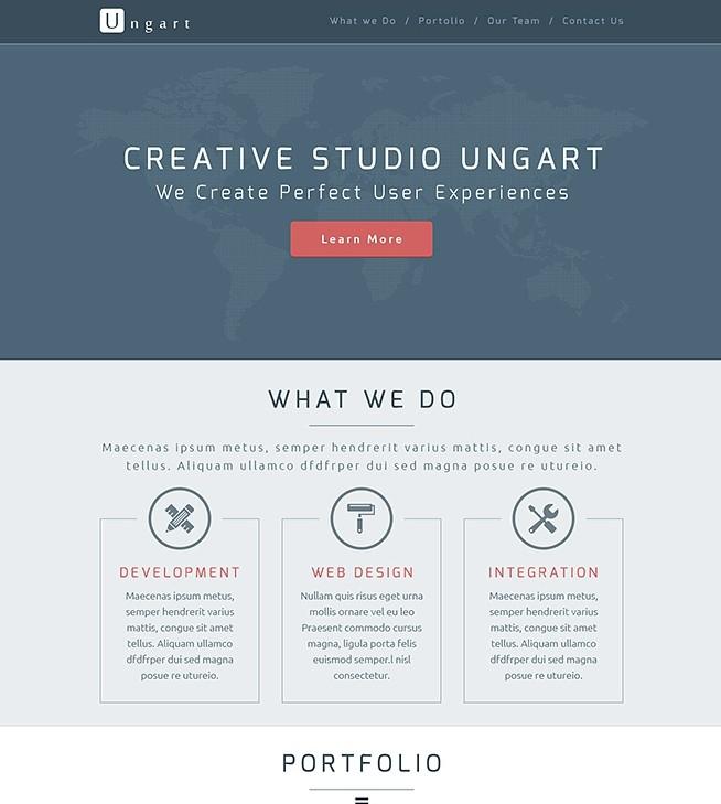 free ungart flat one page website psd template titanui. Black Bedroom Furniture Sets. Home Design Ideas