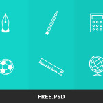 6 Elementary School Icons PSD