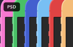 Colored Flat iPhone Templates PSD