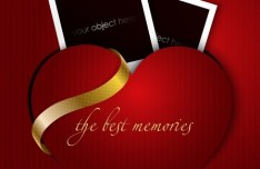 Red Love Heart With Photo Frames and Gold Ribbon Vector