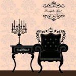 Vector Furniture Illustration with Vintage Floral Background 03