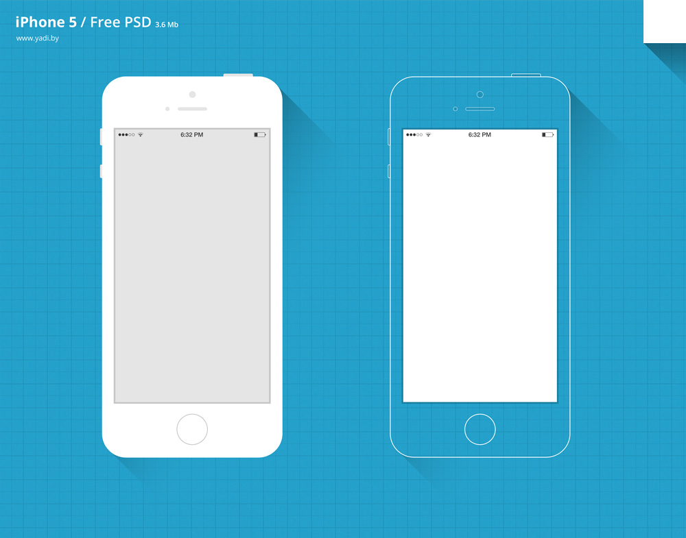 Free Flat Long Shadow iPhone 5S Mockups PSD - TitanUI