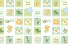 Fresh Cute Cartoon Animals Pattern Vector