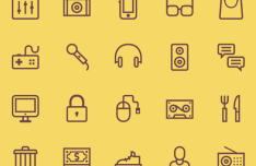 20 Outlined Music Icons Vector PSD