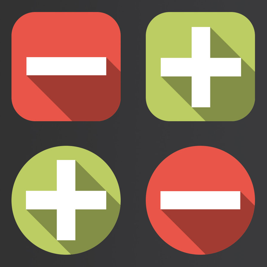 Flat Long Shadow Minus & Plus Icons in 2 styles: rounded and circle.