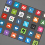 30 Flat Square Social Icons
