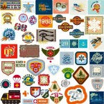 Set Of Random Retro Style Labels & Symbols Vector