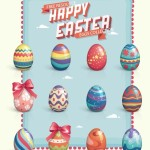 Beautiful Easter Eggs Collection Vector