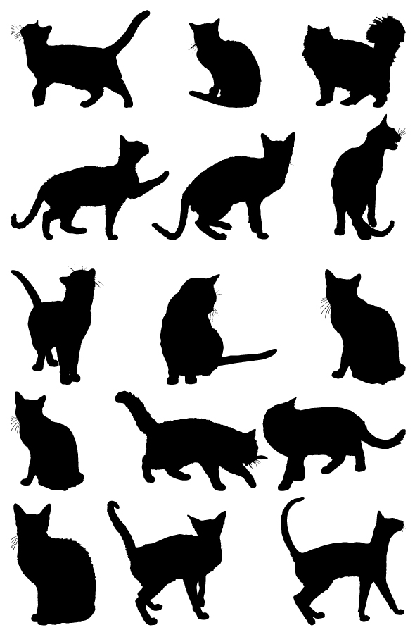 Free Cat Silhouettes Collection Vector - TitanUI