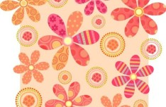 Colorful Vintage Flower Patterns Vector