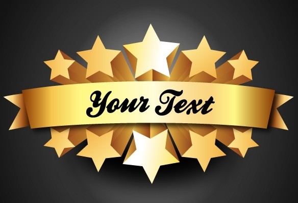 Free 3d Gold Five Star Rating Label Vector Titanui