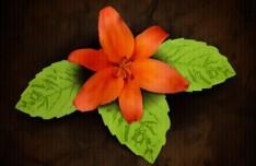 Vintage Orange Flower with Green Leaves Background Vector