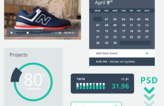 Kicks UI - Fashion Flat UI Kit PSD