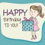 Cartoon Girl Birthday Card Background Vector
