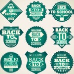 Green Back To School Badge Set Vector