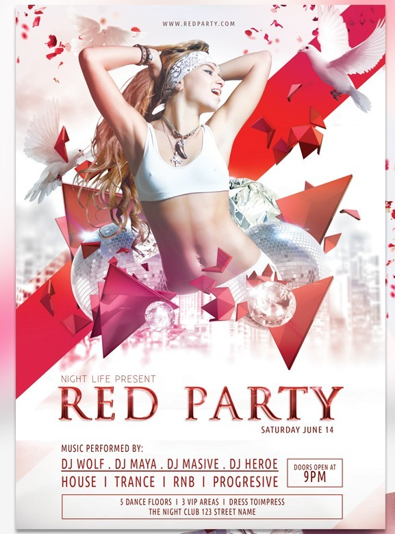 Psd Vector Eps Jpg Download: Free Red Party Flyer Template Vector PSD