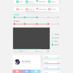 Flat Clean Colorful UI Kit PSD
