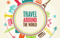Colorful Travel Around The World Illustration Vector