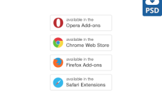 Extensions Buttons For Browsers PSD