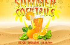 Summer Cocktails Party Flyer Template Vector