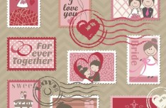 Sweet Love Stamp Set Vector