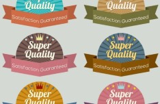 Super Quality Ribbon Label Set Vector