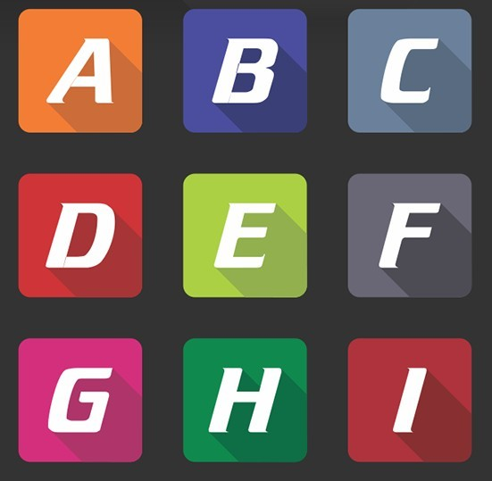 Free Flat Long Shadow Alphabet App Icons Vector Titanui