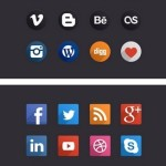 Flat Long Shadow Social Icons (Circular+Rounded)