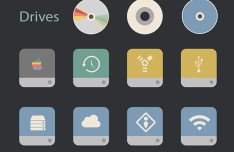 Flat Retro Modern Folders & Drives Icon Set