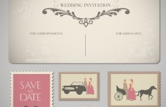 Retro Golden Wedding Invitation Card Vector