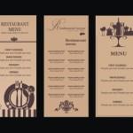 Vintage Brown Restaurant Menu Set Vector