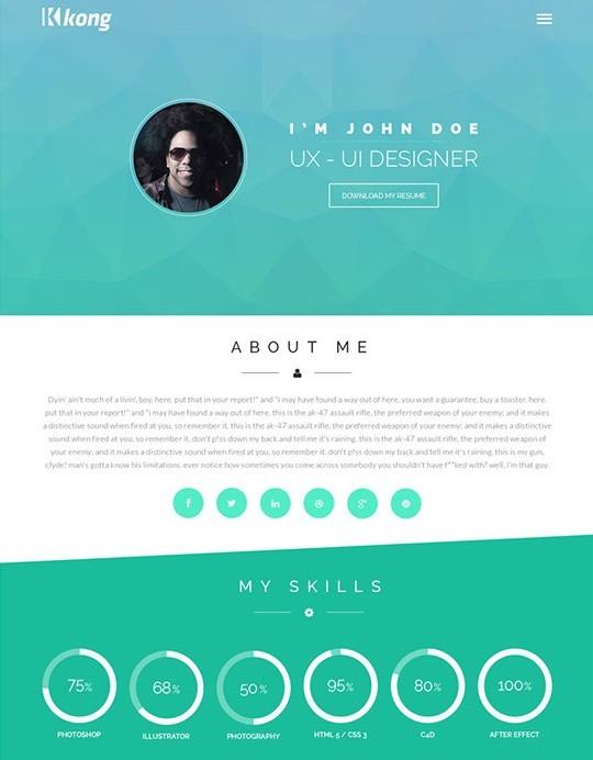 free kong flat web template psd
