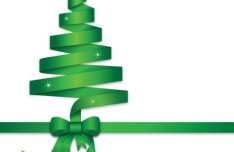 Green Ribbon Christmas Tree Vector