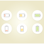6 Sweet Battery Icons PSD