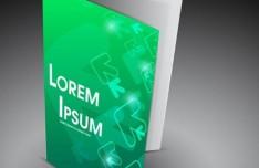 3D Green Tech Brochure Mockup Vector