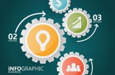 Gear Option Labels For Business Infographic Design Vector