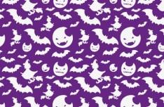 Moon & Bat Halloween Pattern Background Vector