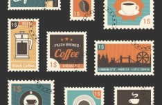 Retro Style Fresh Coffee Stamp Set Vector