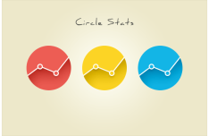 Flat Circle Stats Icon Set PSD