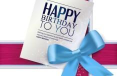 Ribbon Bow Birthday Card Vector