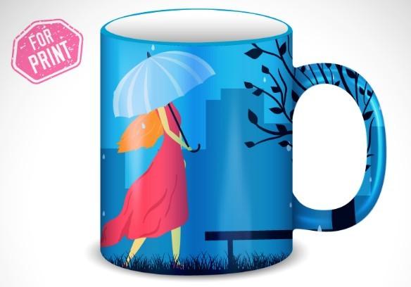 free umbrella girl mug cup template vector titanui. Black Bedroom Furniture Sets. Home Design Ideas
