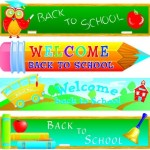 Cartoon Back To School Banner Set Vector