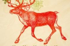 Hand Painted Santa Claus's Reindeer Vector