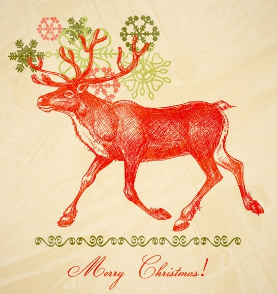 Free Hand Painted Santa Claus's Reindeer Vector - TitanUI