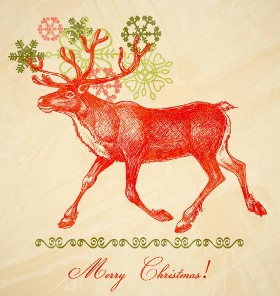 Free Hand Painted Santa Claus's Reindeer Vector - TitanUI